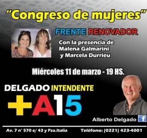 Malena Galmarini encabeza congreso de mujeres en La Plata