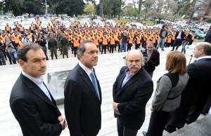 Scioli y un gesto a Bruera en la puesta en marcha de la policía local