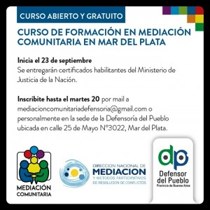 Curso de formación en mediación comunitaria en Mar del Plata