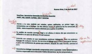 Los docentes le corrigieron la carta a Vidal