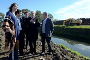 Vidal sigue con su recorrida por obras para evitar inundaciones