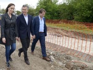 Macri y Vidal recorrieron obras en San Fernando