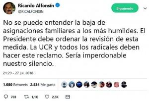 Ricardo Alfonsín, un tuit contra Macri y un aluvión de reacciones