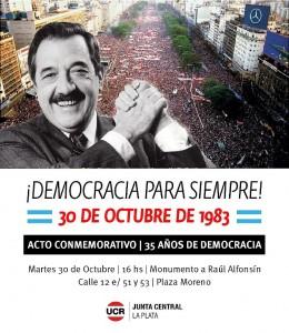 Acto de la UCR platense por los 35 años de democracia