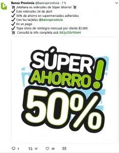 """Vuelven los """"supermiércoles"""" del Banco Provincia con descuentos del 50%"""