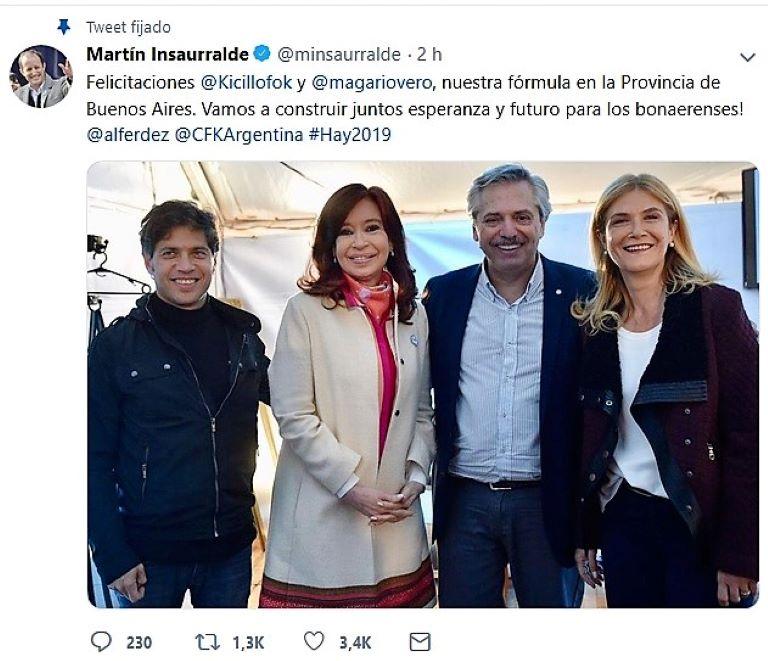 Tuit de Insaurralde sobre Kicillof y Magario