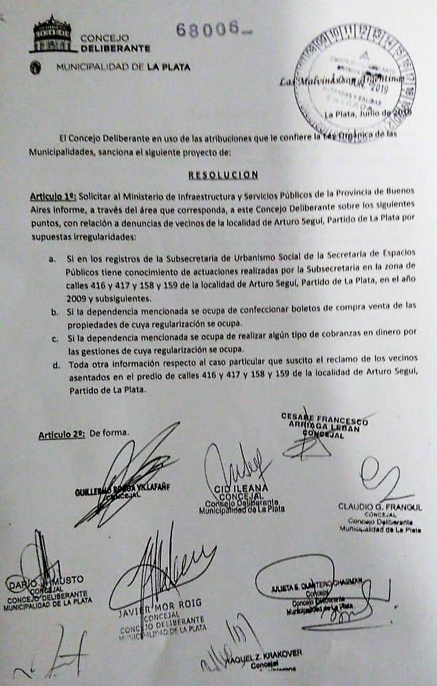 Pedido de informes - Tolosa Paz