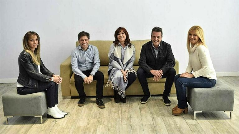 Galmarini, Kicillof, Cristina Kirchner, Massa y Magario