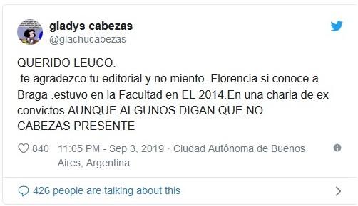 Gladys Cabezas Twitter