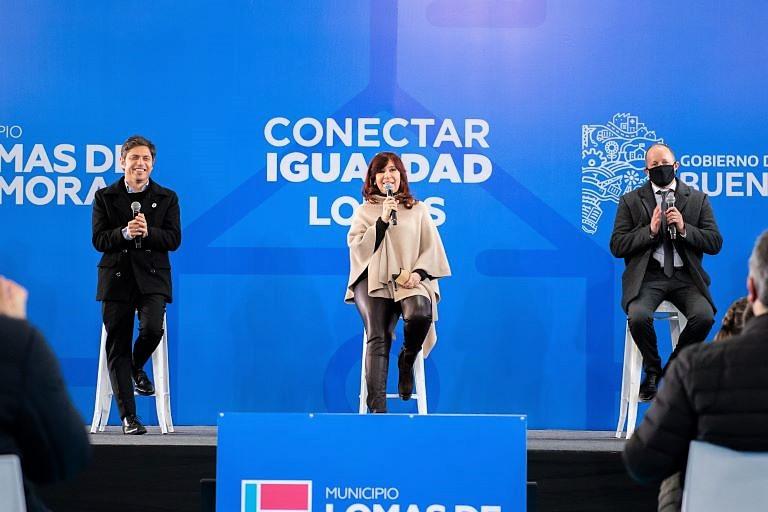 Cristina Kirchner, Kicillof y Martin Insaurralde